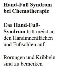 Hand-Fuß Syndrom bei Chemotherapie