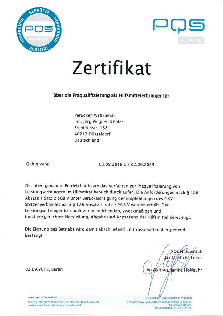 Zertifikat Hilfsmittelversorgung Perücken Wellkamm