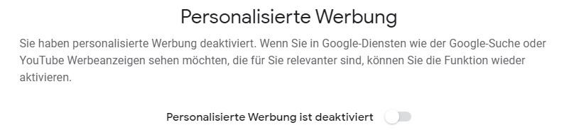 Google setzt bei uns keine personalsierte Werbung ein